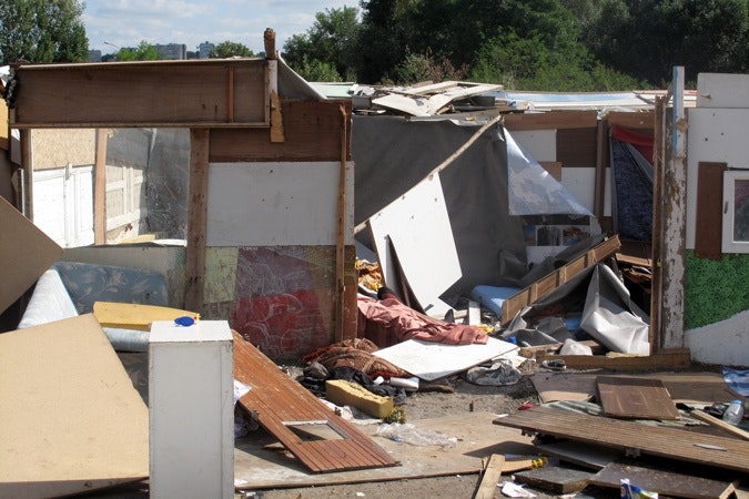 A Roma family's home after leaving the squatter camp