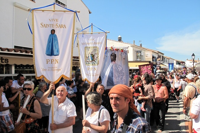 A procession of people