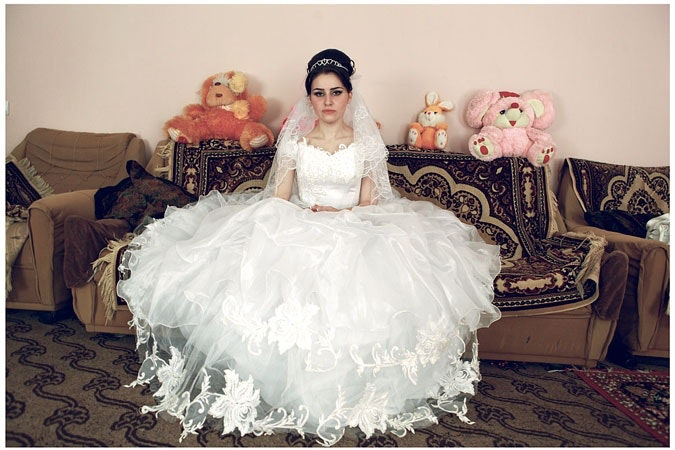 Young bride in her wedding dress.