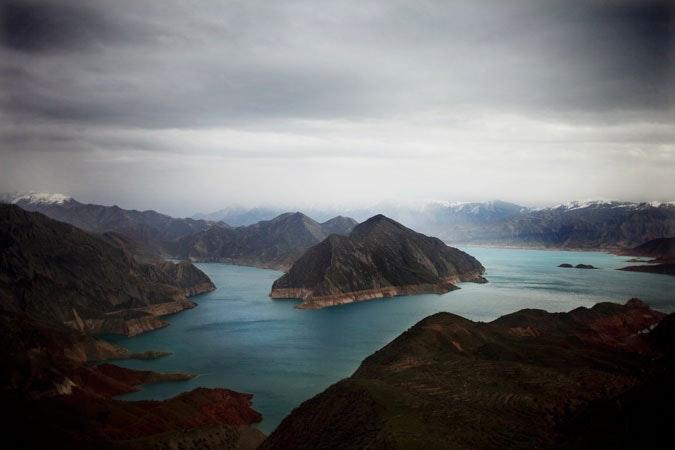 A reservoir above Nurek dam in Tajikistan.