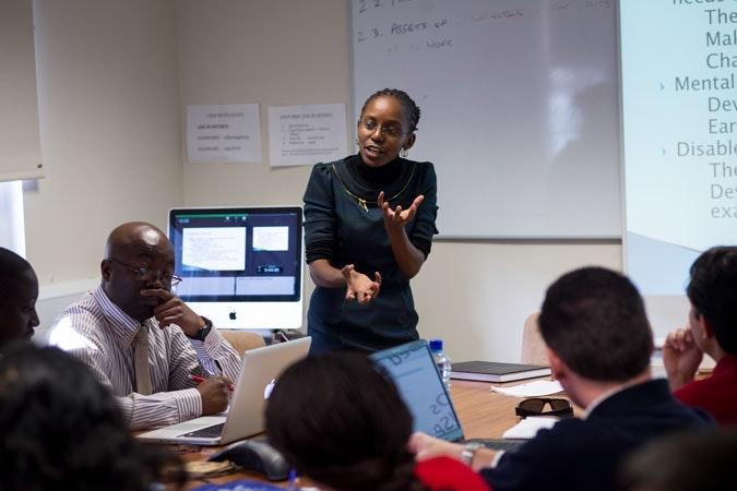 A woman teaching a class