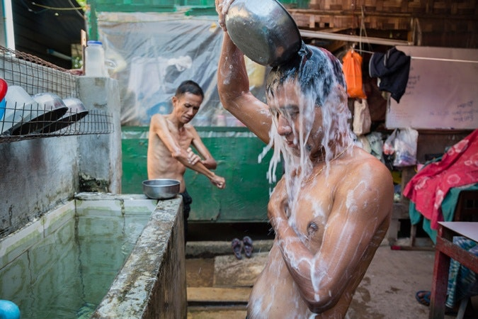 Men washing