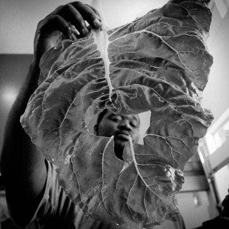 Man holding lettuce