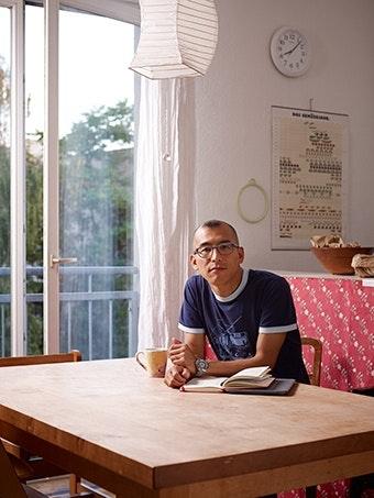 A man sitting.
