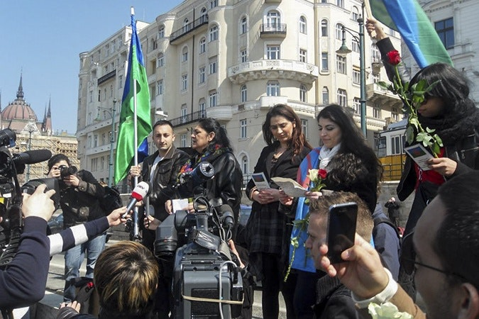 Roma youth demonstrate on International Roma Day.