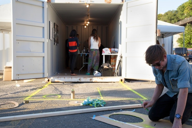 Installing in shipping container