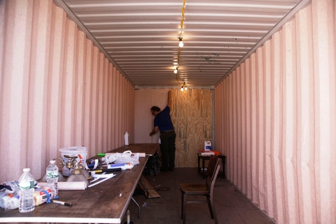 interior of the shipping container