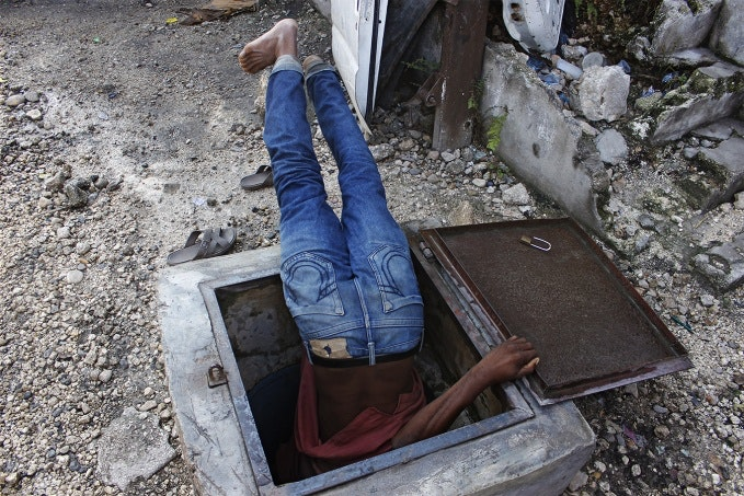 Man in a hole