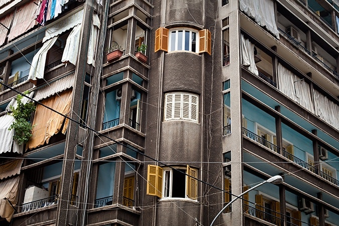 Balconies on an apartment building in Lebanon