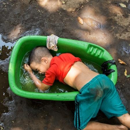 A boy in a tub