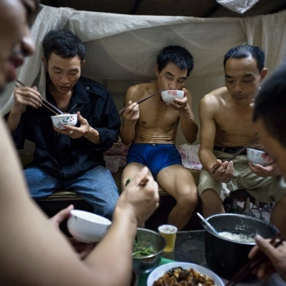 Men eating