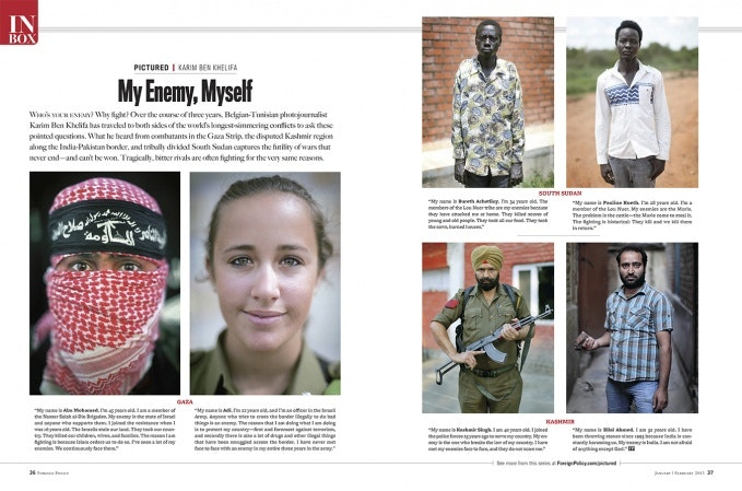 Magazine spread with portraits