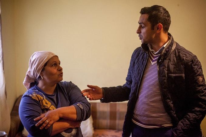 Woman and man talk