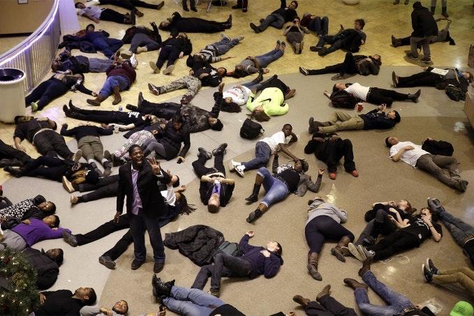 People lie on the floor