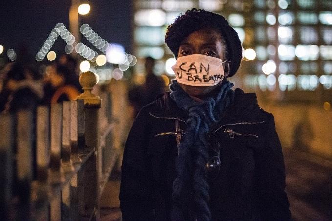 Woman wears mask