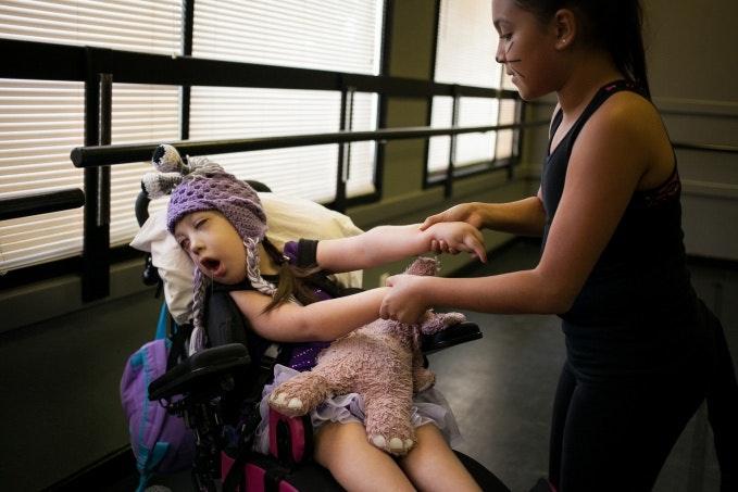 Ballet class in a dance studio