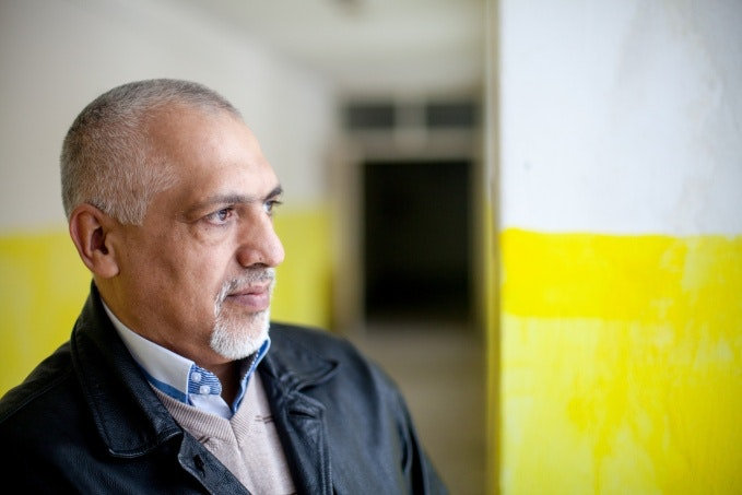 Miroslav Klempar in a school hallway