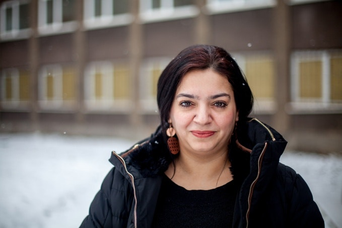 Jolana Smarhovycova outside a building