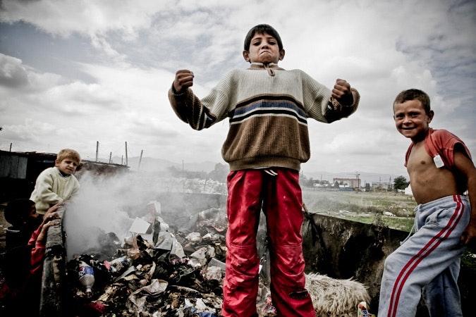 Children play in the Roma settlement near Gjakova.