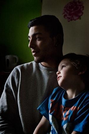 Julius Mikas with his son