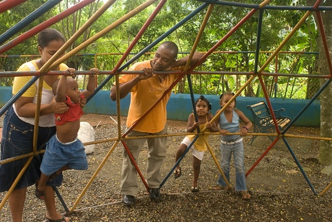 Kids with parents at a playground